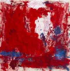 Sangre, bright red abstract expressionist oil painting on canvas