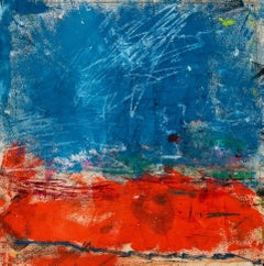 Socorro, bright blue and red abstract expressionist oil painting on canvas