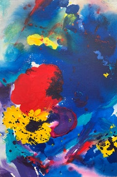 Abstract Flowers Painting Blue Red Yellow Purple Colour by Modern British Artist