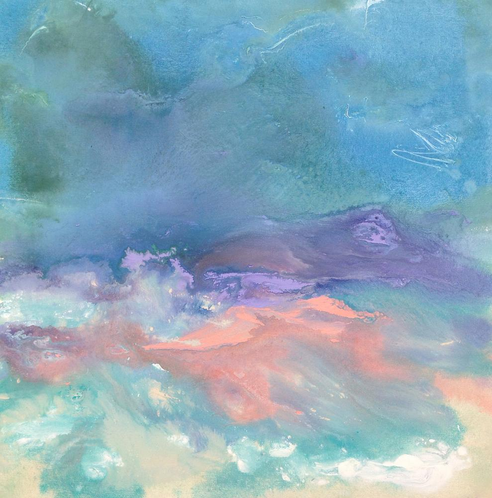 Pink Lavender Modern Abstract Landscape Painting on Canvas by British Artist