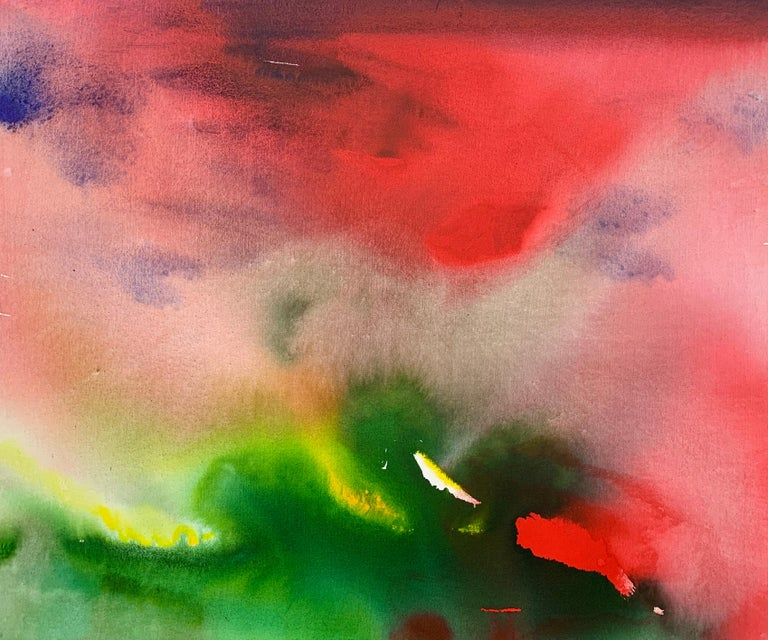 Red and Green Modern Abstract Landscape Painting on Canvas by British Artist  For Sale 1