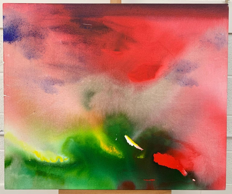 Red and Green Modern Abstract Landscape Painting on Canvas by British Artist  For Sale 2