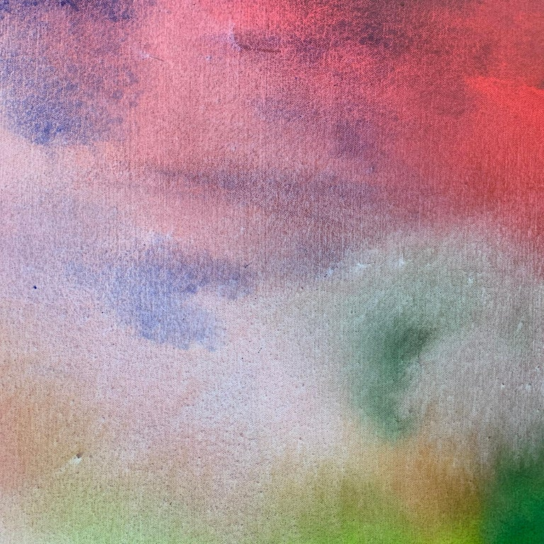 Red and Green Modern Abstract Landscape Painting on Canvas by British Artist  For Sale 4
