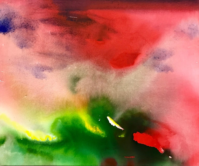 Red and Green Modern Abstract Landscape Painting on Canvas from leading British Artist Margaret Francis, widow of Sam Francis.   Margaret Francis received her Degree in Fine Art from Winchester Art School in England and her Higher Degree in Fine Art