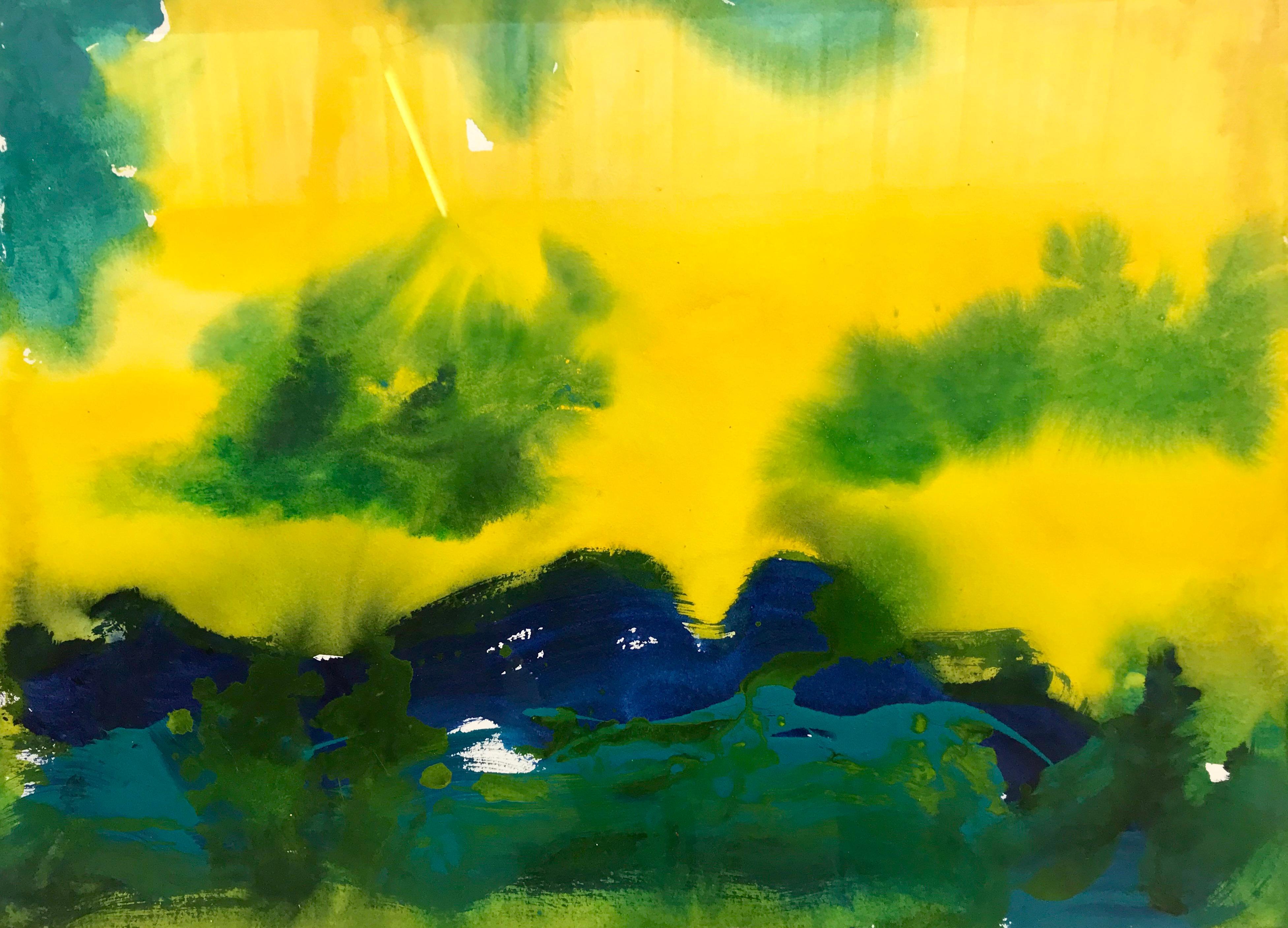 Santa Barbara California Blue Yellow Green Modern Abstract Landscape Painting