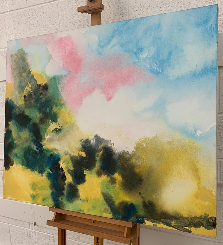 'Sunny Air' Unique Original Abstract Landscape Painting with Soft Pink Green Blue Yellow Colours, from British Artist Margaret Francis, widow of famous Abstract Expressionist Artist, Sam Francis.   Margaret Francis received her Degree in Fine Art