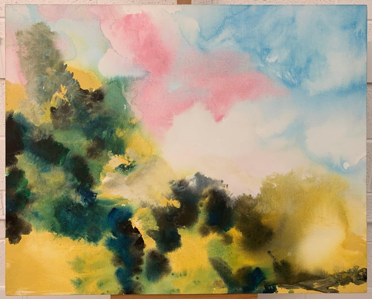 Sunny Air Abstract Landscape Painting with Soft Pink Green Blue Yellow Colours For Sale 1
