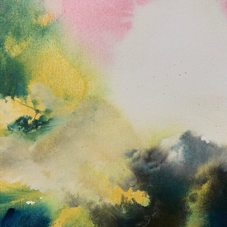 Sunny Air Abstract Landscape Painting with Soft Pink Green Blue Yellow Colours For Sale 3