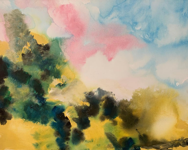 Margaret Francis Abstract Painting - Sunny Air Abstract Landscape Painting with Soft Pink Green Blue Yellow Colours