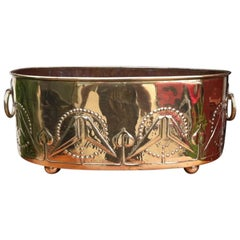 Margaret Gilmour, Attr. Arts & Crafts Brass Planter with Embossed Kissing Birds