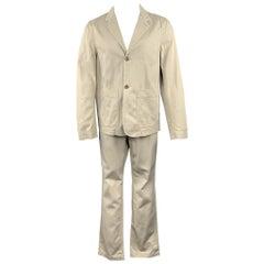 MARGARET HOWELL Size 40 Short Khaki Cotton Notch Lapel Suit