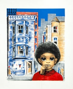 Boy in Red Shirt original lithograph by Margaret Keane c 1980