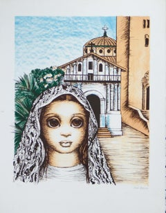 San Francisco, Girl with Mission Dolores original lithograph by Margaret Keane