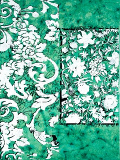 Acts Botanica, Vertical Abstract White Botanical Pattern on Green Handmade Paper