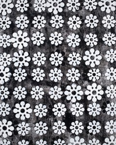 All Spiritual, Large Abstract Graphic Black White Flower Pattern Painting