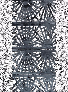 American Surface, Vertical Abstract Black White Gray Geometric Pattern Painting
