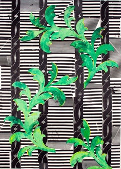 Applaud All Songs, Bright Green, Yellow, Black, White Botanical Pattern Painting