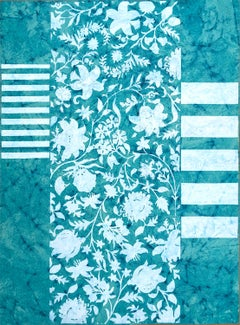 Book of Choice, Abstract White Botanical Pattern, Stripes on Teal Indian Paper