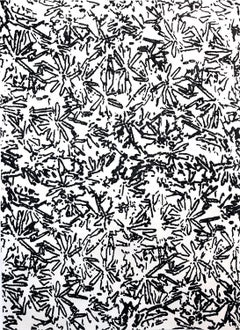 Brittle Spring Hyacinths, Abstract Black and White Botanical Pattern Painting