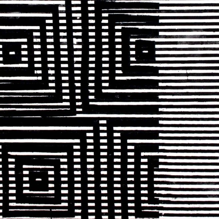 Clapham, Vertical Abstract Black and White Geometric Pattern Painting For Sale 2