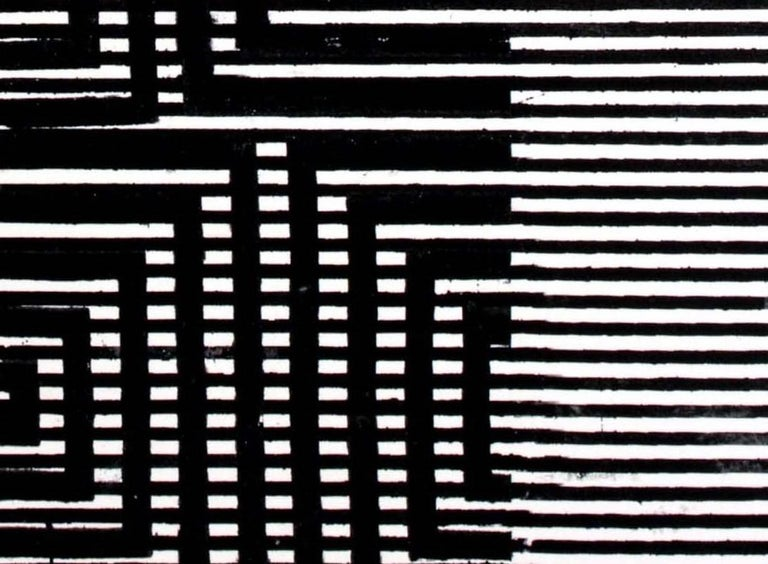 Clapham, Vertical Abstract Black and White Geometric Pattern Painting For Sale 4