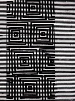 Clapham, Vertical Abstract Black and White Geometric Pattern Painting