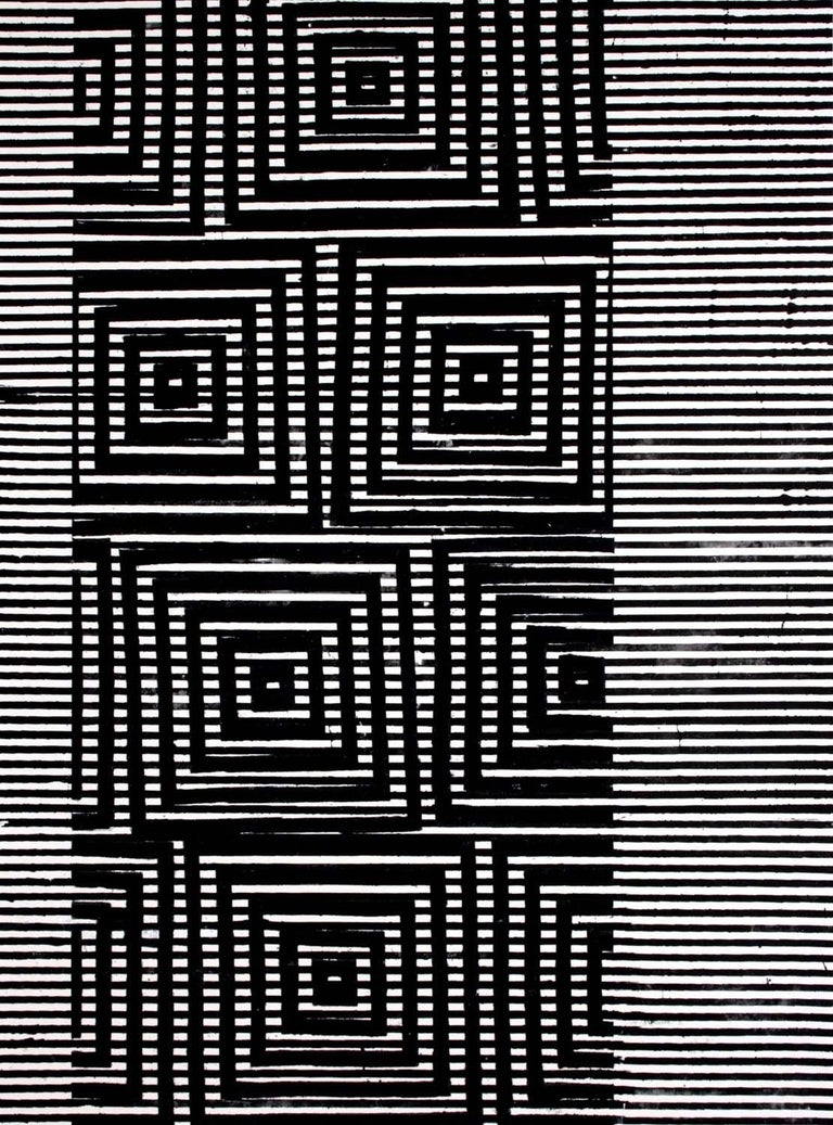 Margaret Lanzetta Abstract Painting - Clapham, Vertical Abstract Black and White Geometric Pattern Painting