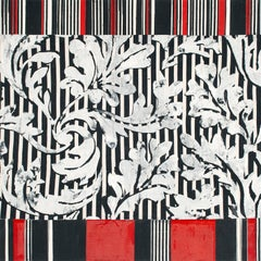 Dance Card, Abstract Black and White Botanical Pattern, Red and Black Stripes