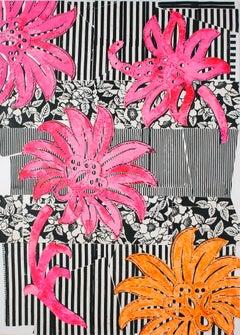Forever Flâneur, Bright Pink, Orange, Black, White Botanical Pattern Painting