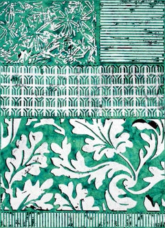 Full Balm, Vertical Abstract White Botanical Pattern on Green Indian Rag Paper