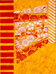 Intelligence Report, White, Red Botanical Pattern, Stripes Orange Handmade Paper