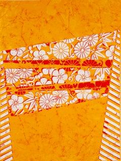 Lifesaver, White, Red Botanical Pattern, Stripes on Saffron Orange Paper
