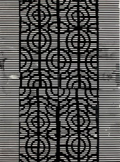Samarinda, Vertical Abstract Black and White Geometric Pattern Painting