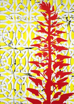 Same Winter, Large Vertical Abstract Painting in Yellow, White with Red Plant