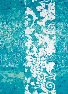 Sugar Weed, Abstract White Botanical Silkscreen Pattern on Teal Indian Rag Paper