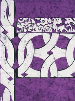 Tincture, Abstract White Botanical Geometric Pattern on Purple Indian Rag Paper