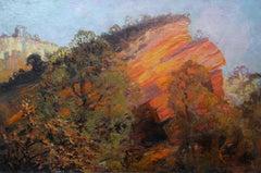 A Geological Landscape - British art 1920's landscape oil painting female artist