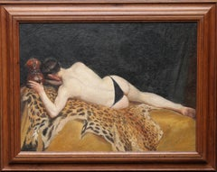 Nude Young Man Lying on an Animal Skin - British art 1921 portrait oil painting
