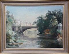 River Landscape - British 1920's art Bath landscape oil painting female artist