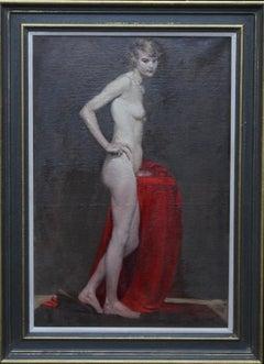 Standing Female Nude Portrait - British art roaring 20's portrait oil painting
