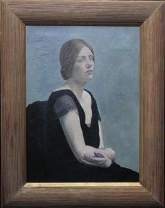 The Evening Dress - British art Post Impressionist female portrait oil painting