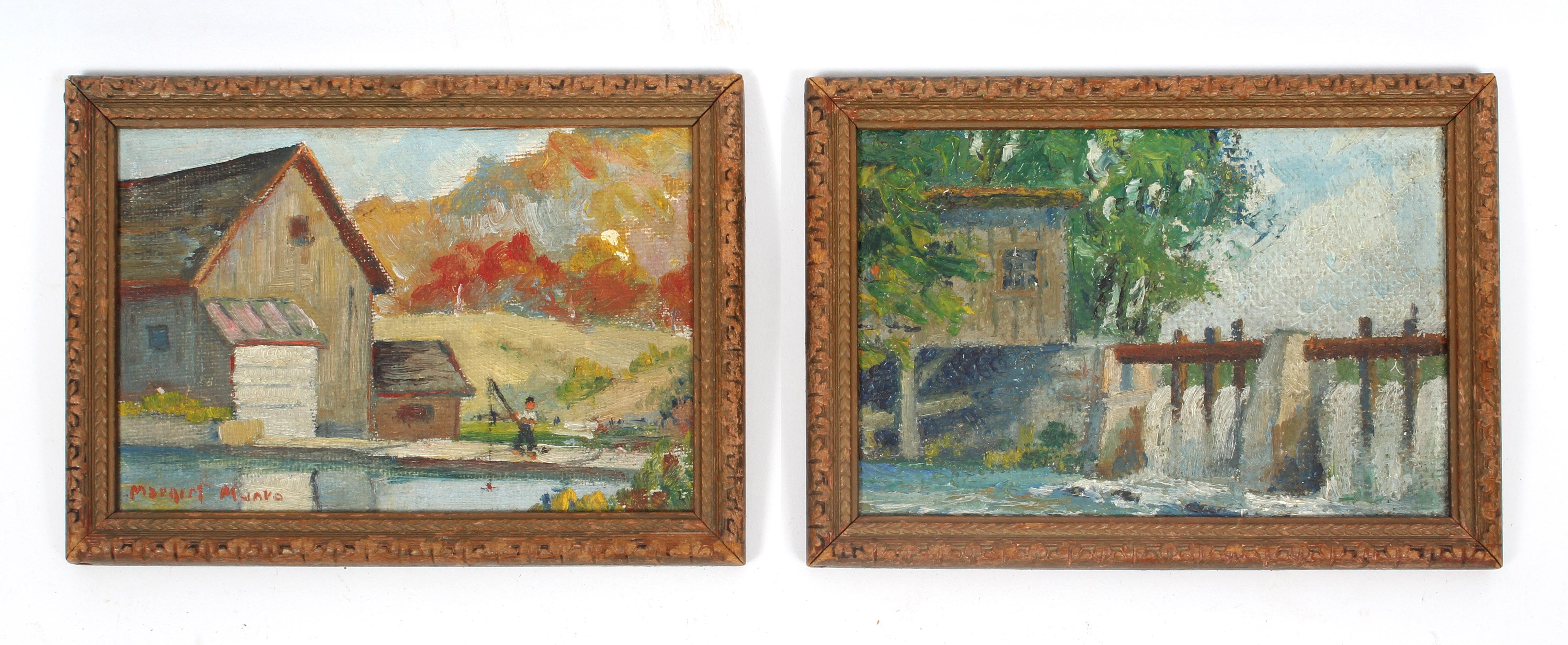 A Pair of Modern Impressionist Landscape Oil Paintings Framed Female artist NY