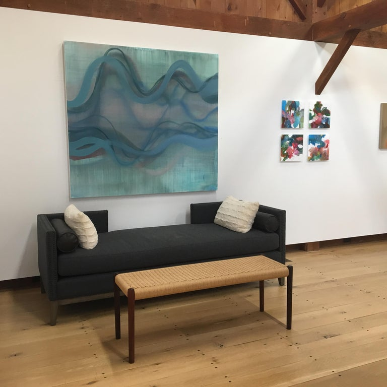 Springtides, Large Abstract Painting with Undulations in Blue with Dark Red For Sale 1