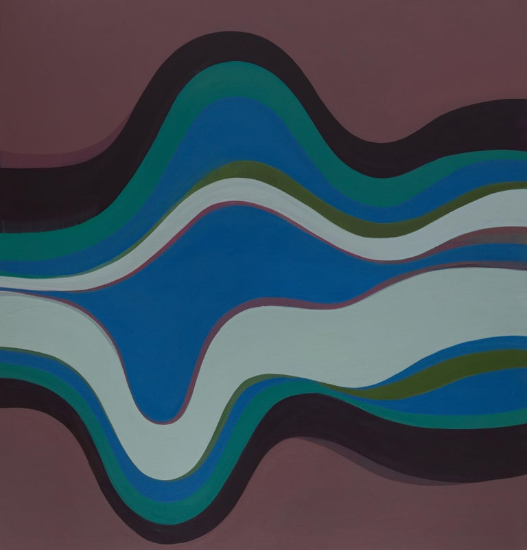 Margaret Neill's large geometric abstract painting titled Expedition investigates the properties of abstract curvilinear forms found in the localized conditions of her surrounding environment. This experience is sublimated in a process both primal
