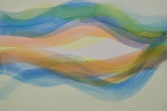 Locale, Horizontal Abstract Painting, Undulations in Blue, Orange, Green, Yellow