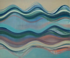 Reservoir, Large Horizontal Abstract Painting of Undulations in Blue, Green