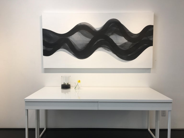 Summit, Black and White Horizontal Abstract Painting with Curved Layered Forms For Sale 1
