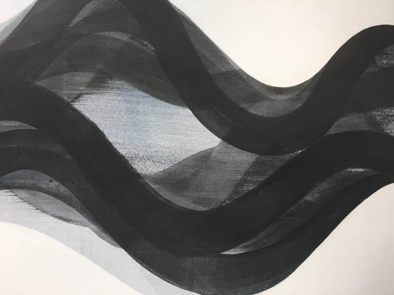 Summit, Black and White Horizontal Abstract Painting with Curved Layered Forms For Sale 5