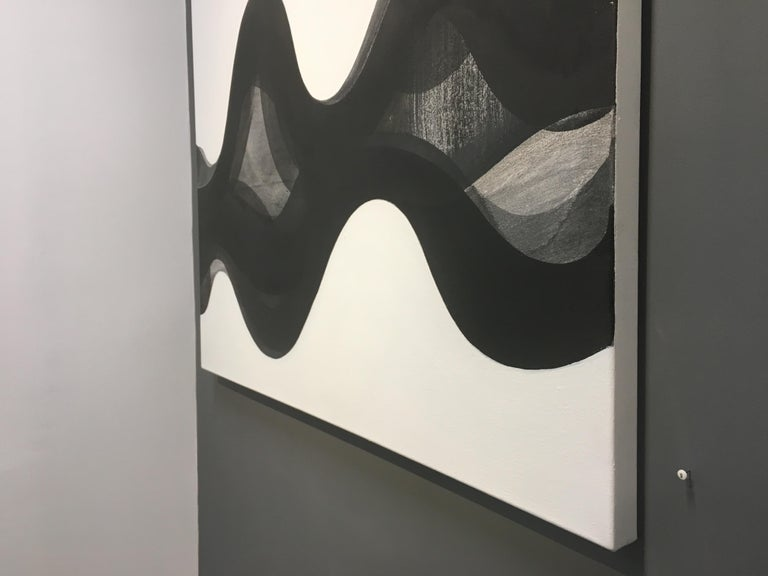 Terrain, Abstract Painting with Black, Gray, White Curving Layered Forms For Sale 4
