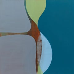 Vantage, Square Abstract Painting in Blue, Green and Gray Curved Layered Forms